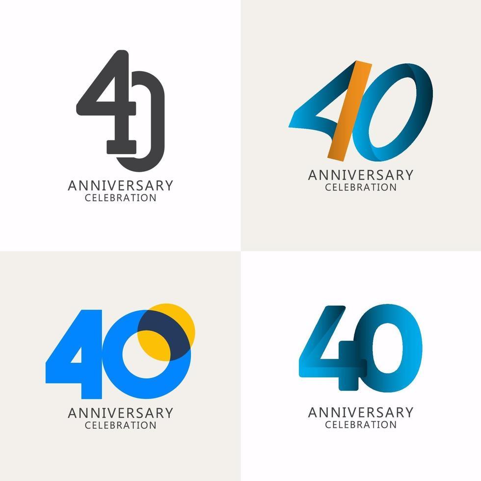 40 anos de comemoração de aniversário compilação logotipo vetor modelo design ilustração