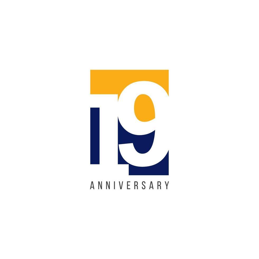 Ilustração de design de modelo de vetor de celebração de 19º aniversário