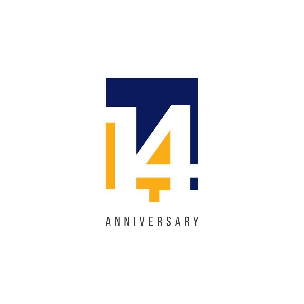 Ilustração de design de modelo de vetor de celebração do 14º aniversário