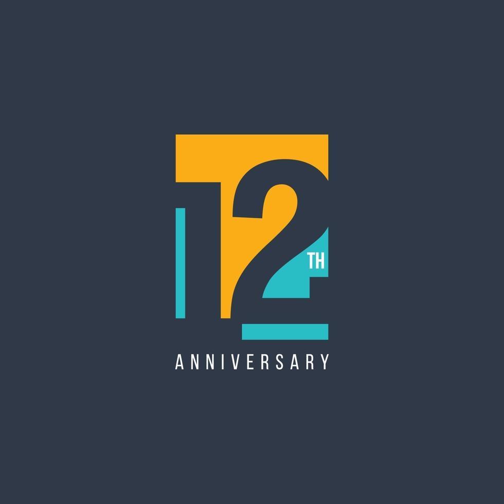 Ilustração de design de modelo de vetor de celebração do 12º aniversário