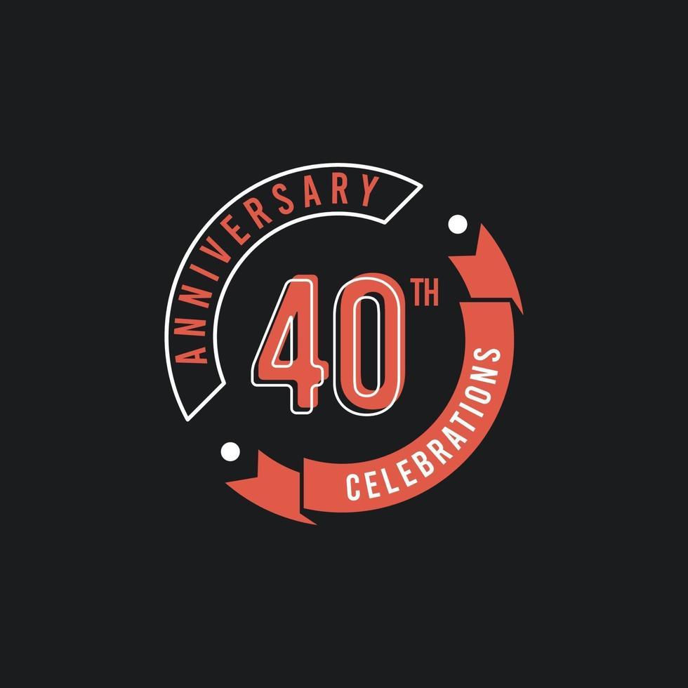 Ilustração de design de modelo vetorial elegante celebrações do 40º aniversário vetor