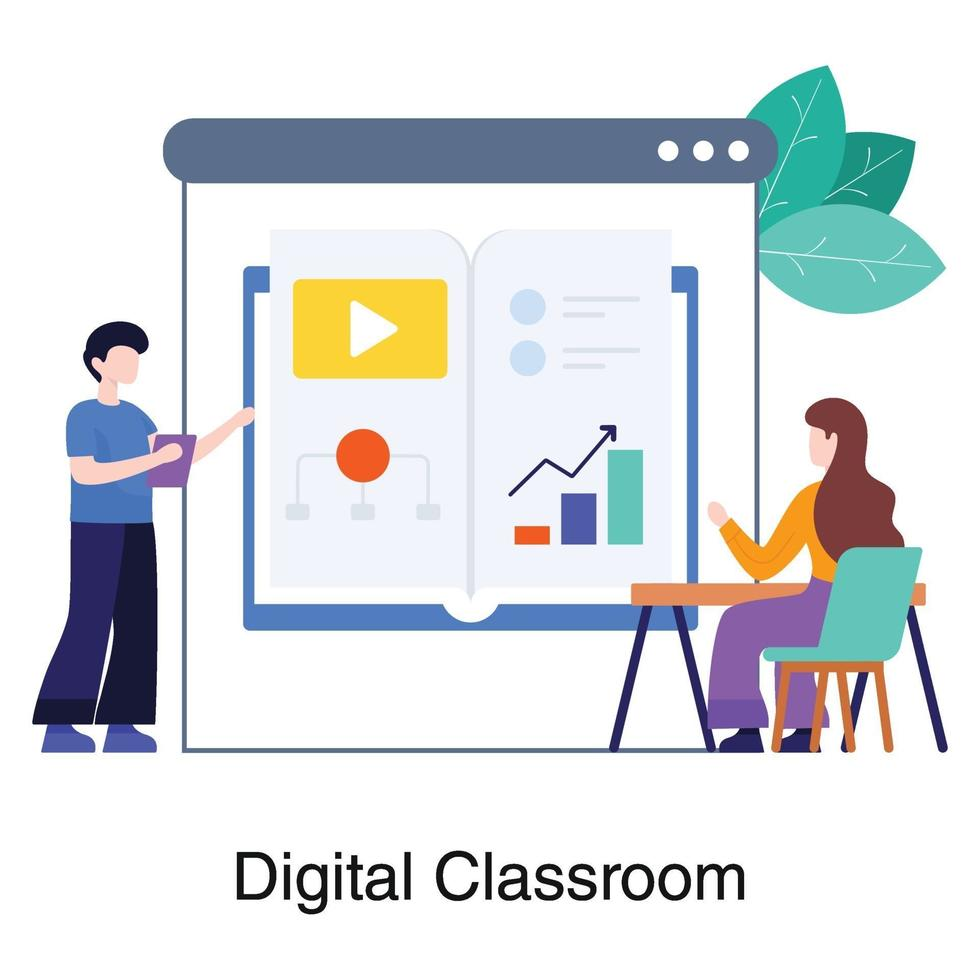 conceito de sala de aula digital ou virtual vetor
