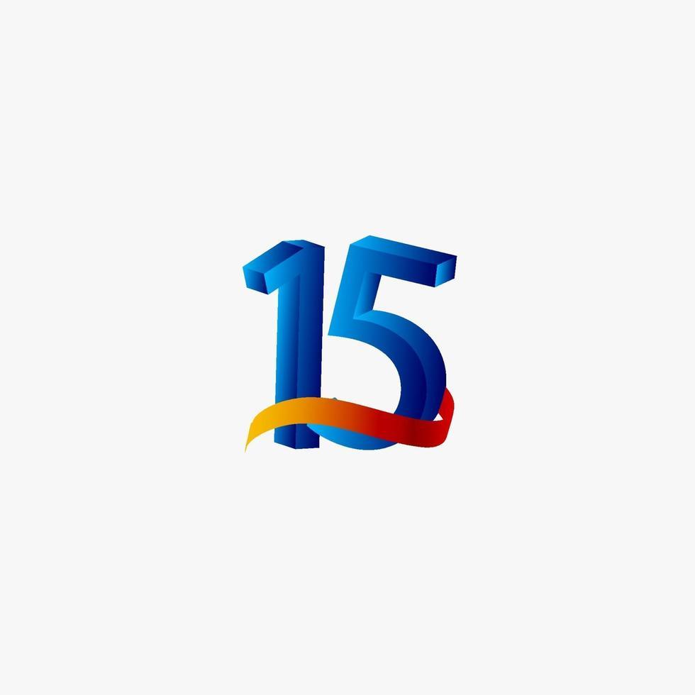 15 anos de comemoração de aniversário número azul ilustração de design de modelo de vetor