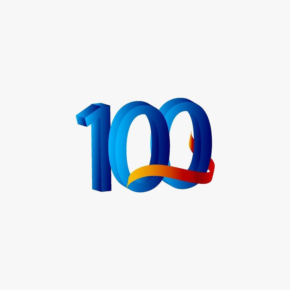 100 anos aniversário comemoração número azul ilustração vetorial modelo design vetor