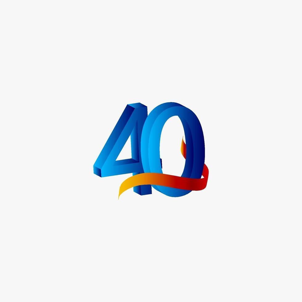 40 anos de comemoração de aniversário número azul ilustração de design de modelo de vetor