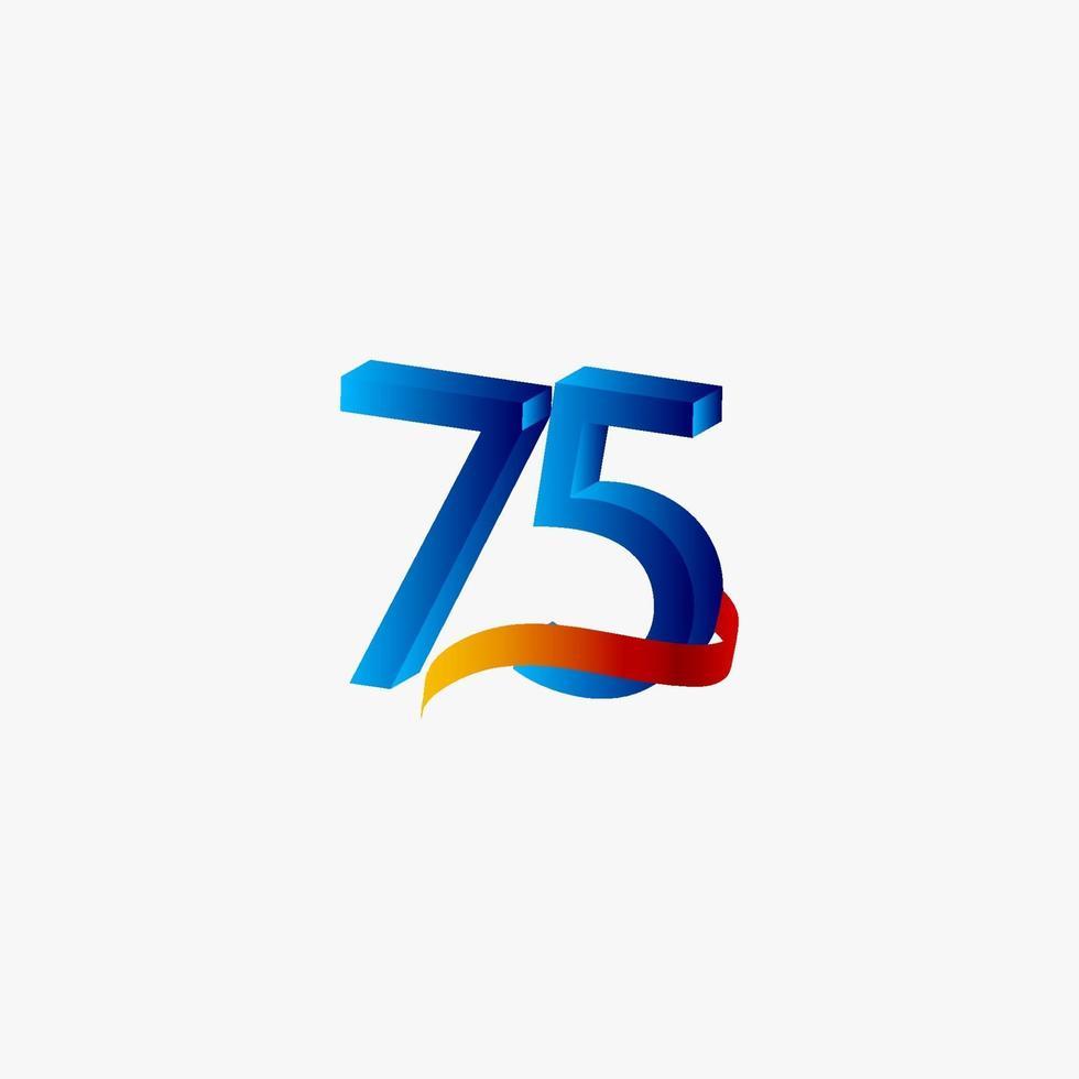 75 anos de celebração de aniversário número azul ilustração de design de modelo de vetor