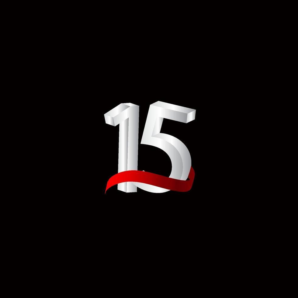 15 anos aniversário comemoração número preto e branco ilustração vetorial modelo design vetor