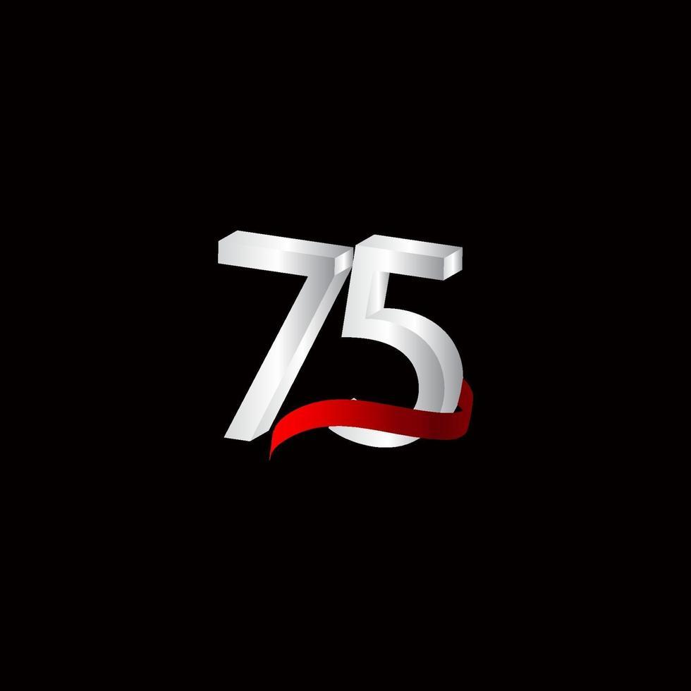 75 anos de celebração de aniversário número preto e branco ilustração de design de modelo de vetor