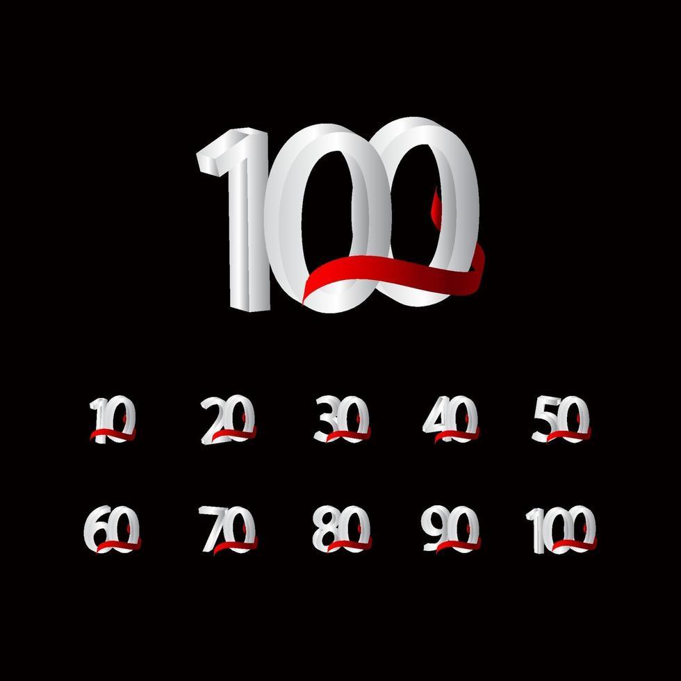 100 anos de comemoração de aniversário número preto e branco ilustração de design de modelo de vetor