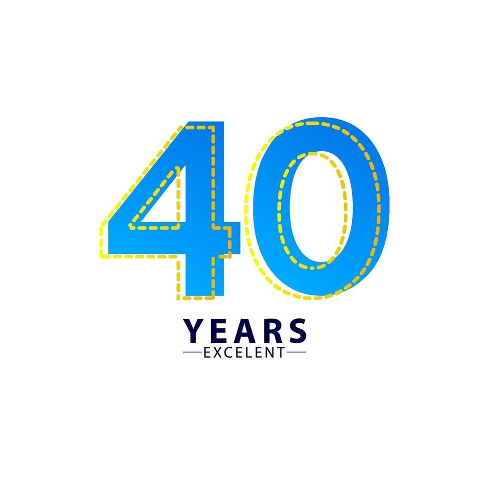 40 anos excelente celebração de aniversário ilustração de design de modelo vetorial traço azul vetor