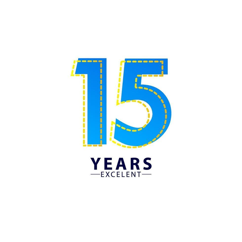 15 anos excelente celebração de aniversário ilustração de design de modelo vetorial traço azul vetor