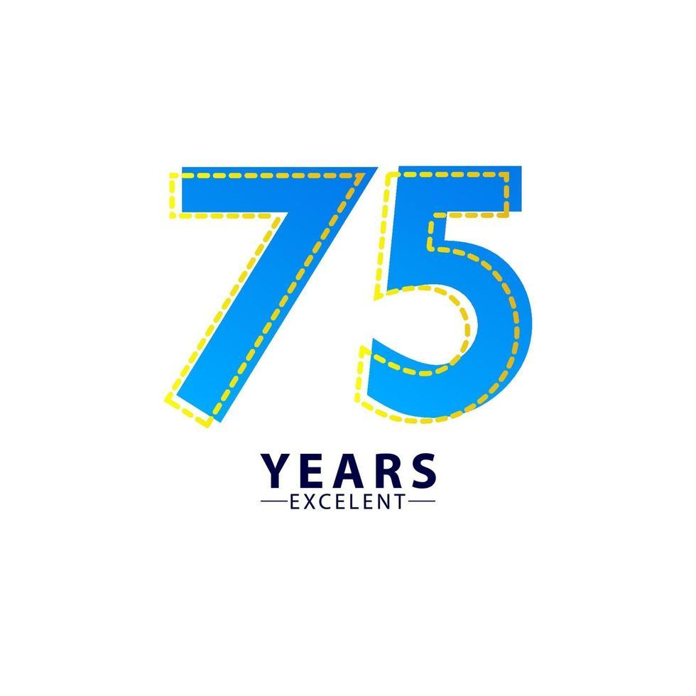 75 anos excelente celebração de aniversário ilustração de design de modelo vetorial traço azul vetor