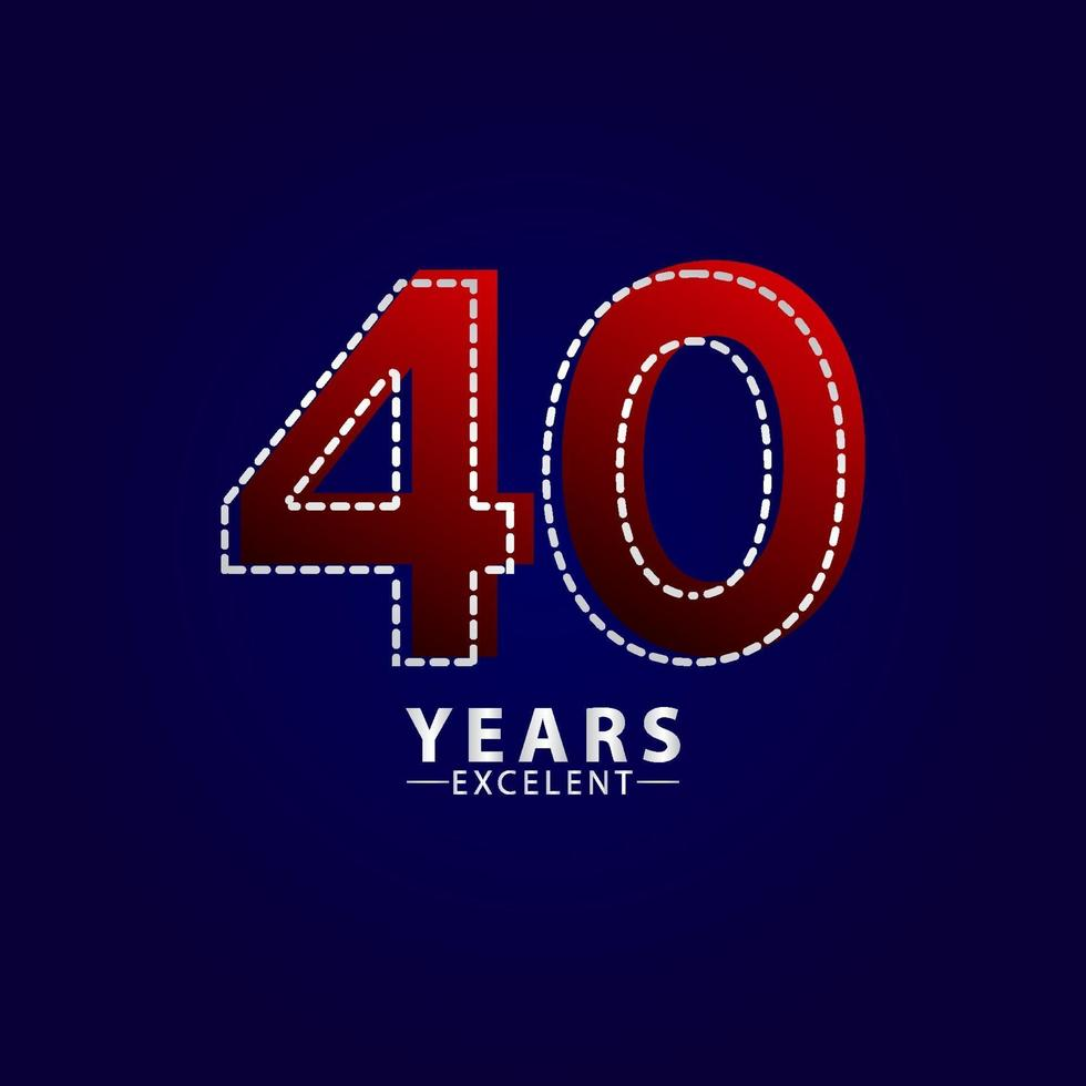 40 anos excelente celebração de aniversário ilustração de design de modelo vetorial linha vermelha traço vetor