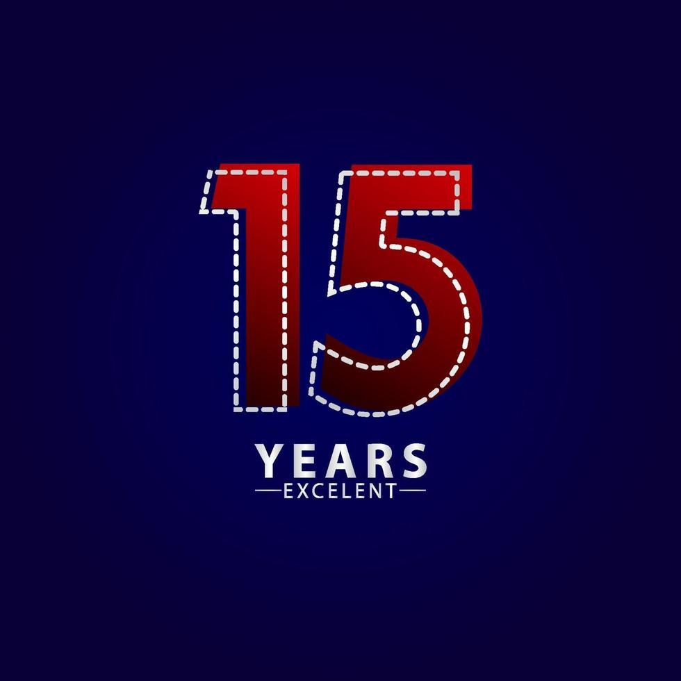 15 anos excelente celebração de aniversário ilustração de design de modelo vetorial linha traço vermelho vetor