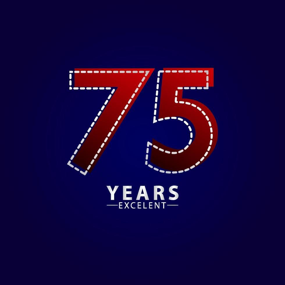 75 anos excelente celebração de aniversário ilustração de design de modelo vetorial linha vermelha traço vetor
