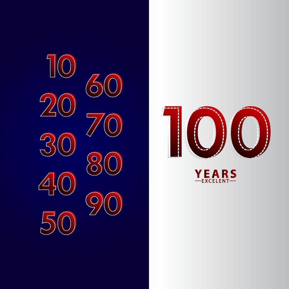 100 anos excelente celebração de aniversário ilustração de design de modelo vetorial linha traço vermelho vetor