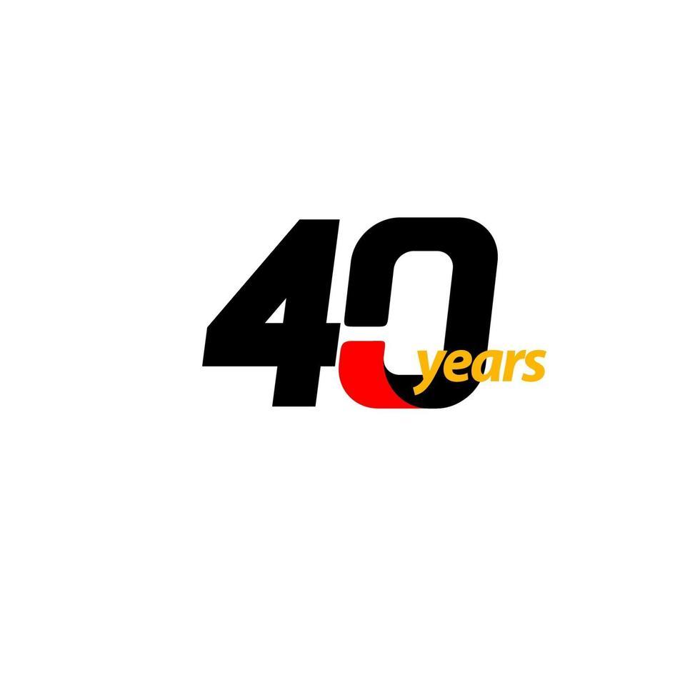 Ilustração de design de modelo vetorial celebração de aniversário de 40 anos vetor