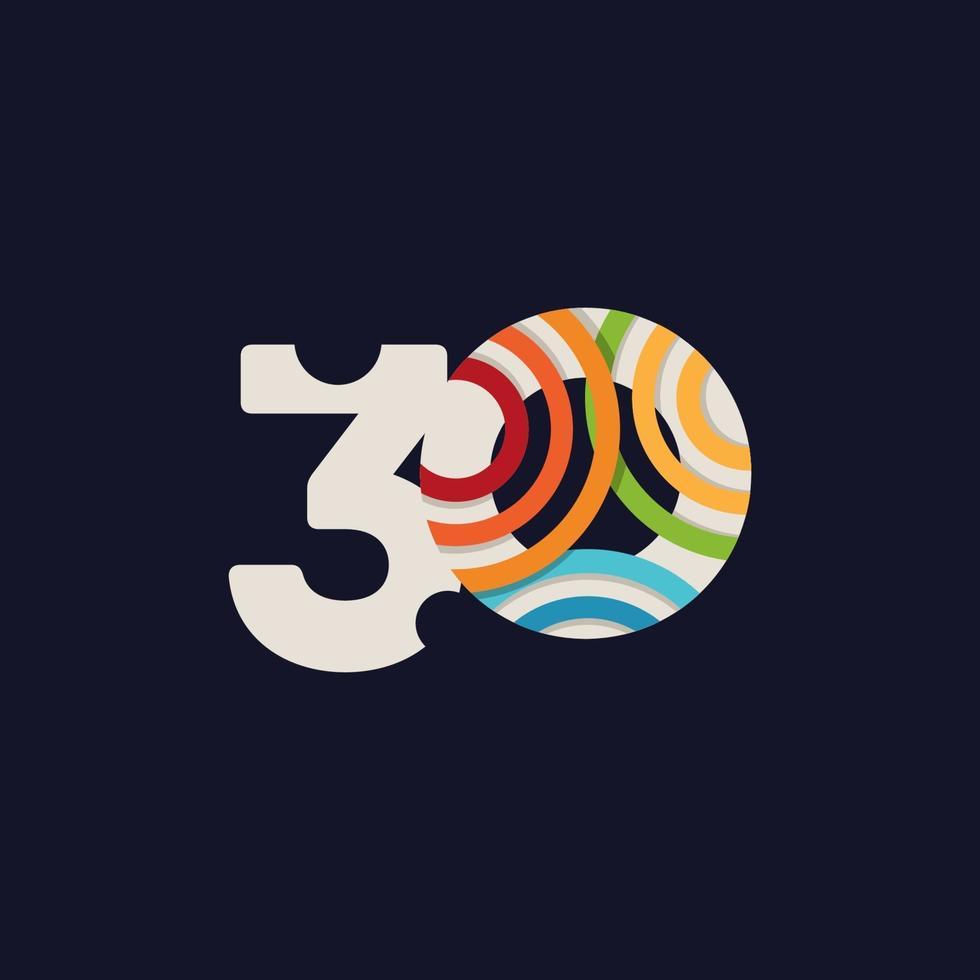 Ilustração de design de modelo vetorial celebração de aniversário de 30 anos vetor