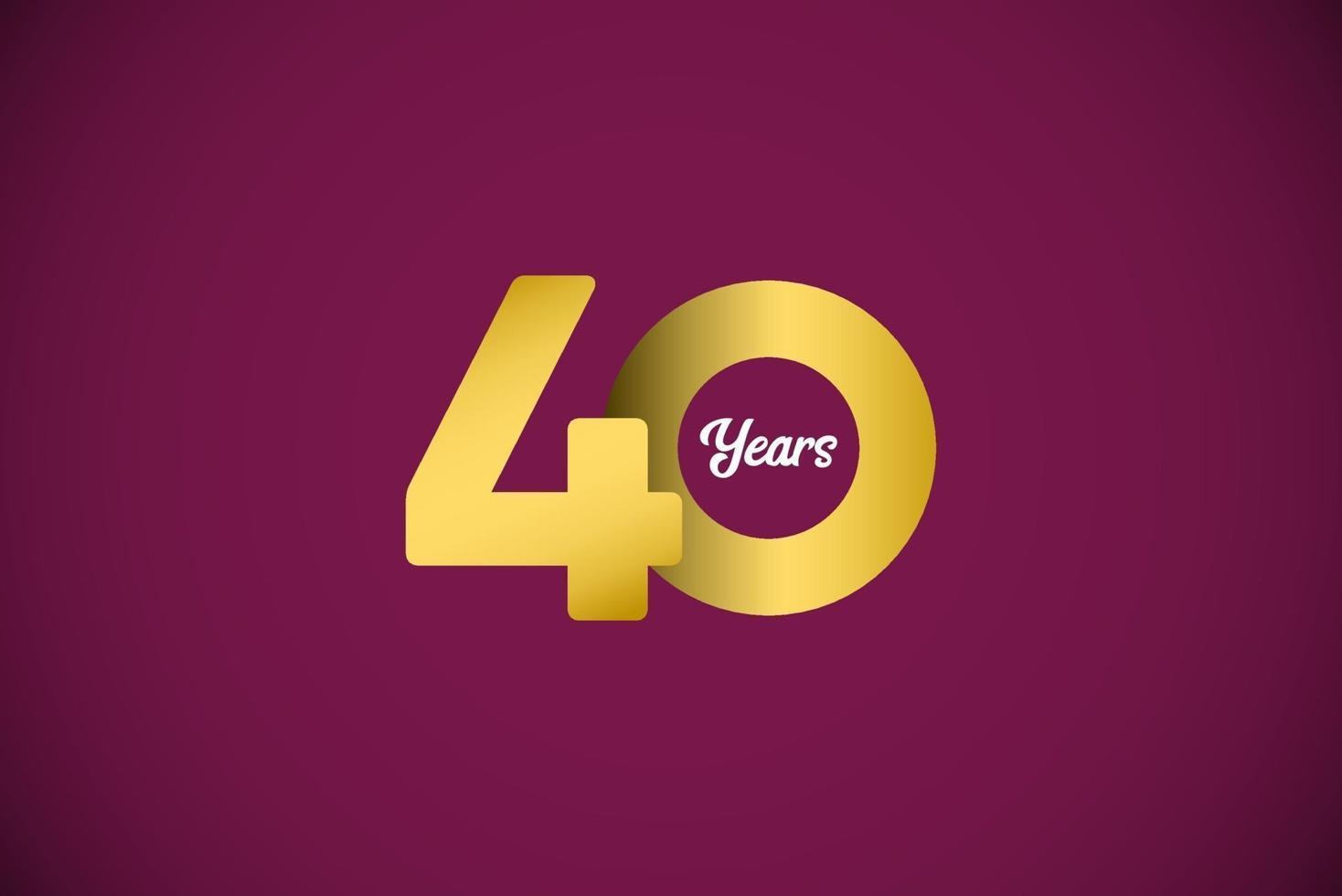 Ilustração de design de modelo de ouro de celebração de aniversário de 40 anos vetor