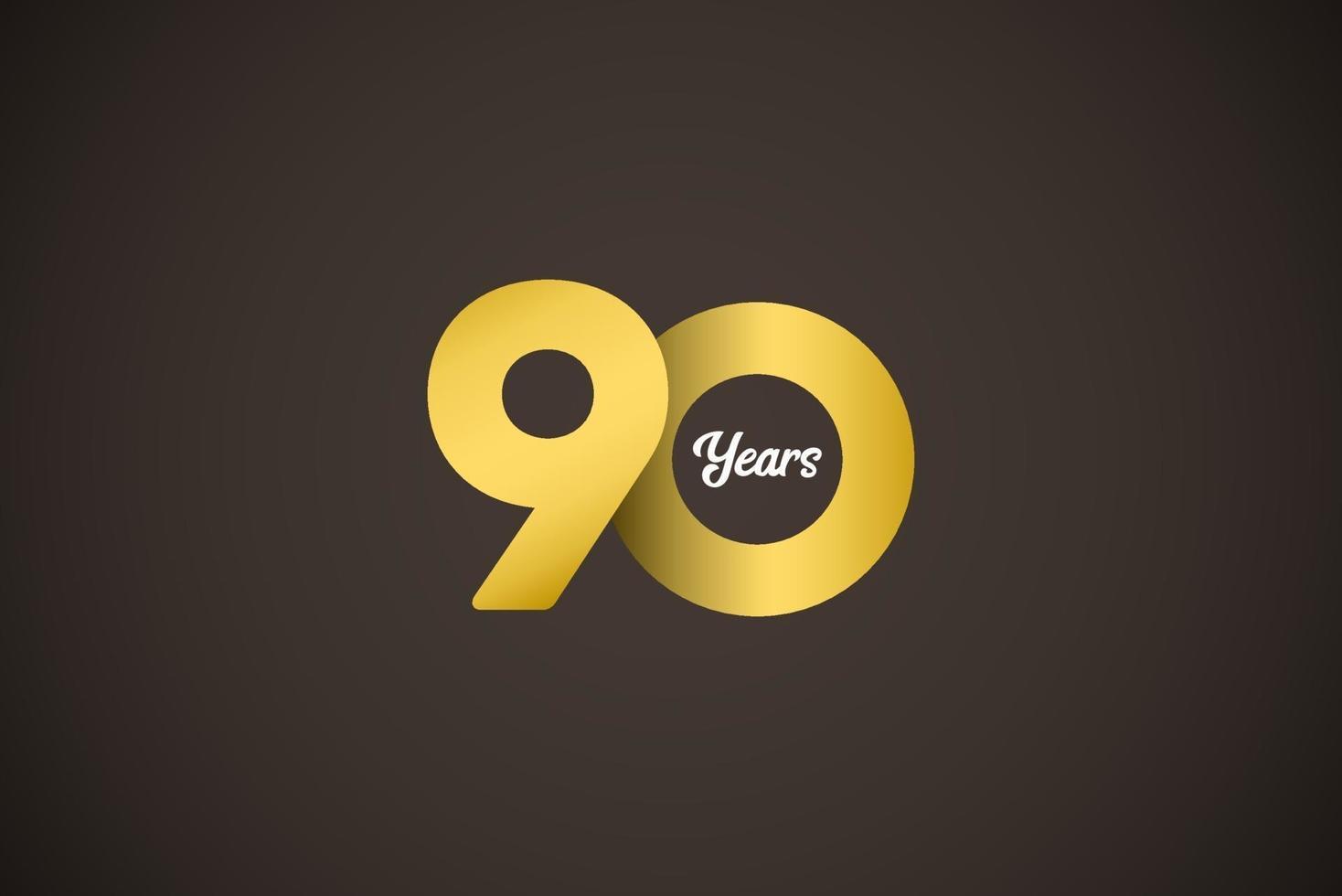 Ilustração de design de modelo vetorial ouro celebração de aniversário de 90 anos vetor