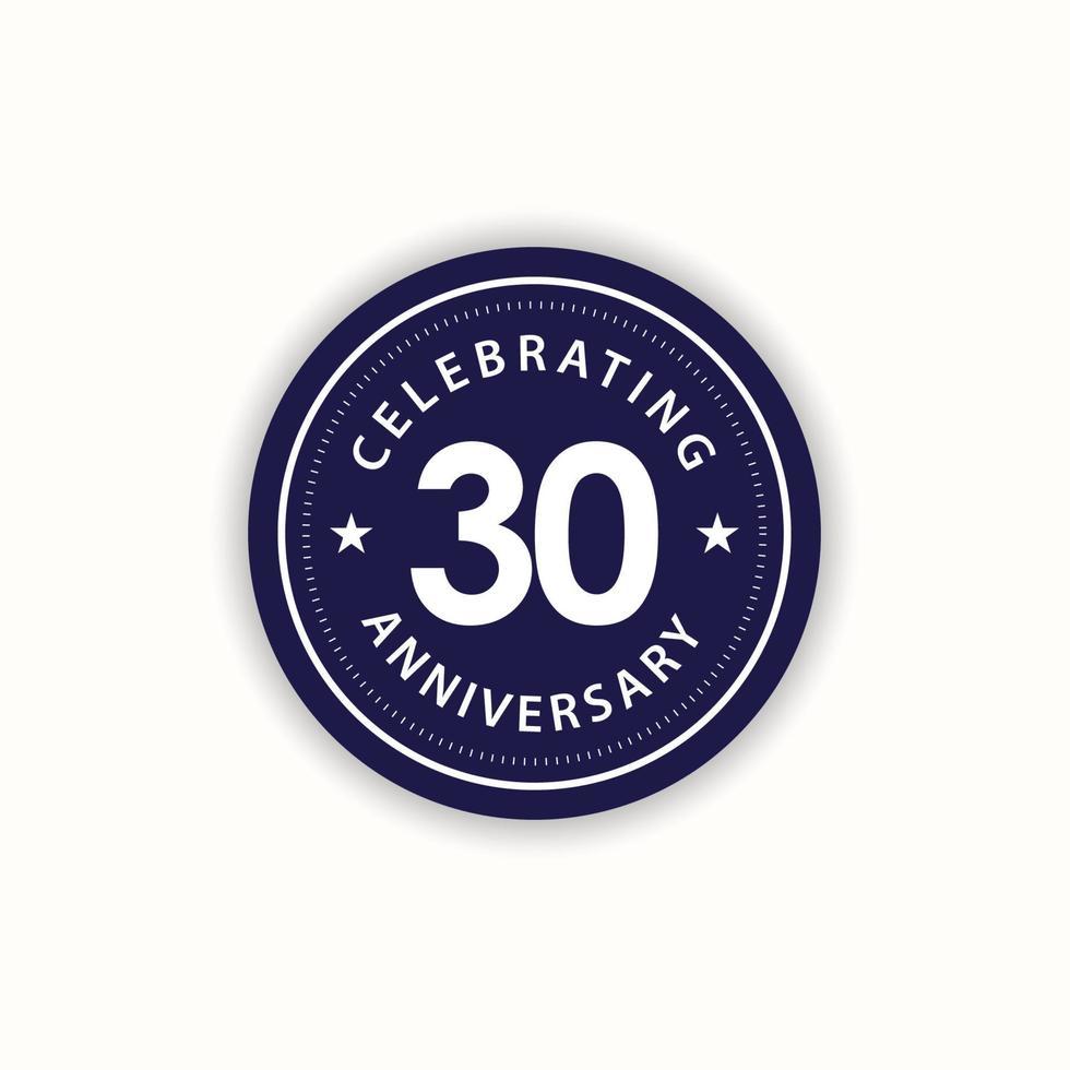 Aniversário de 30 anos comemorando ilustração de design de modelo de vetor vintage retrô