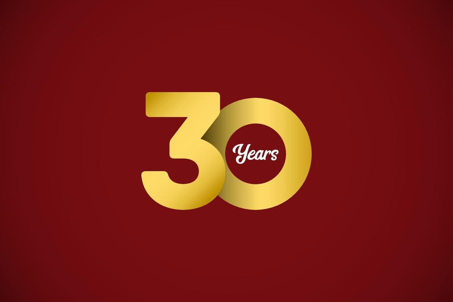 Ilustração de design de modelo vetorial ouro celebração de aniversário de 30 anos vetor