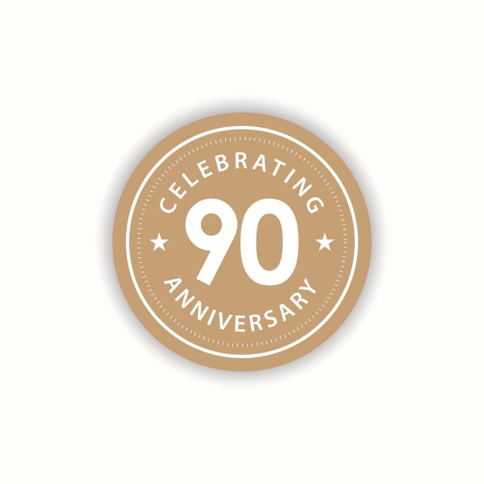 Aniversário de 90 anos comemorando ilustração de design de modelo vetorial vintage vetor
