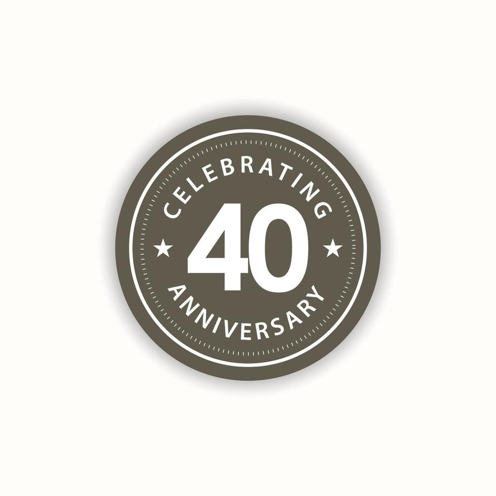 Aniversário de 40 anos comemorando ilustração retro vintage vector template design