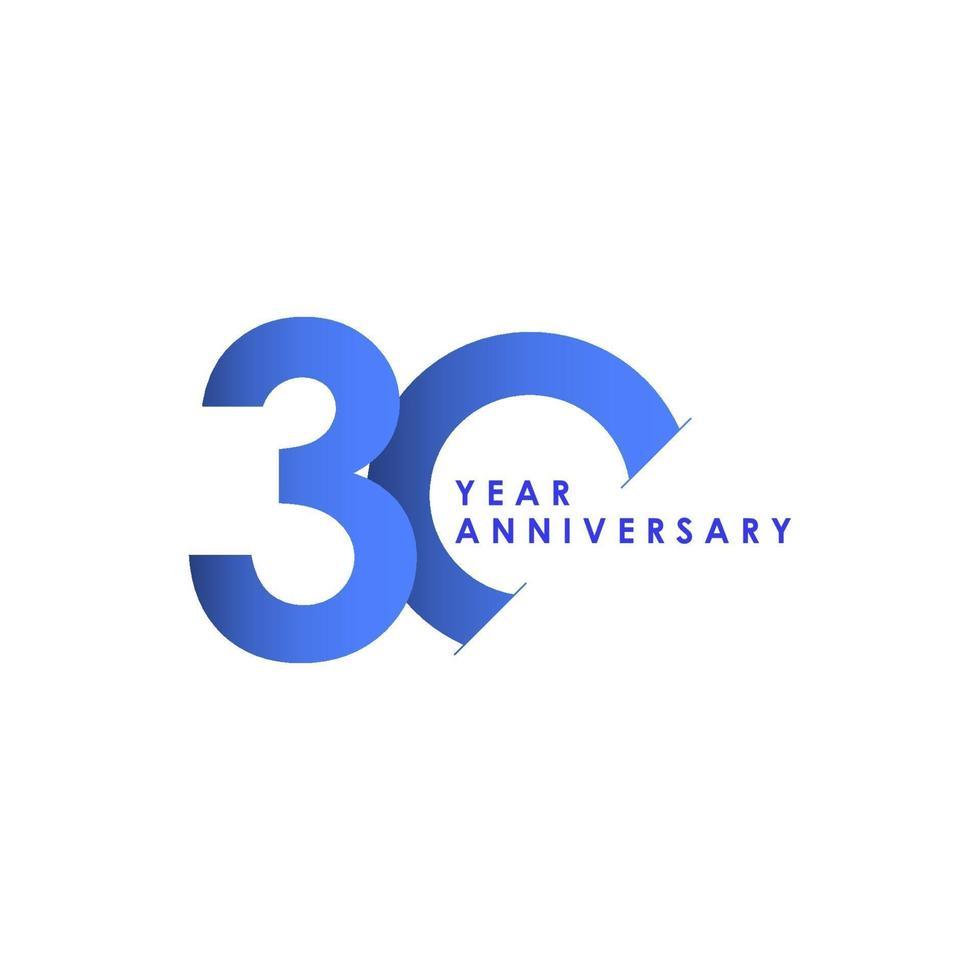 Ilustração de design de modelo de vetor gradiente azul celebração de aniversário de 30 anos