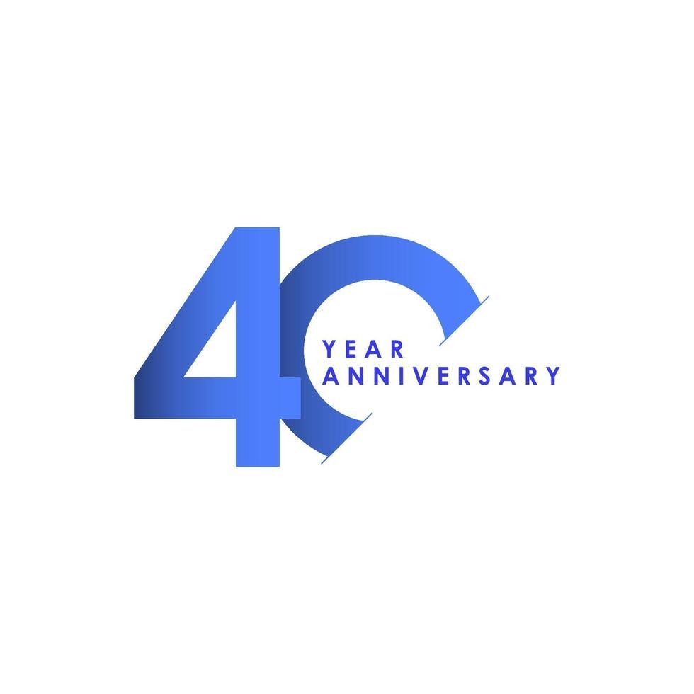 Ilustração de design de modelo de vetor gradiente azul celebração de aniversário de 40 anos