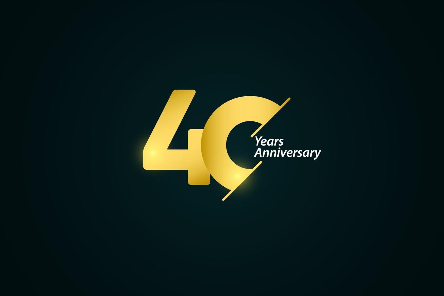 40 anos de comemoração de aniversário de ouro logotipo vetor modelo design ilustração