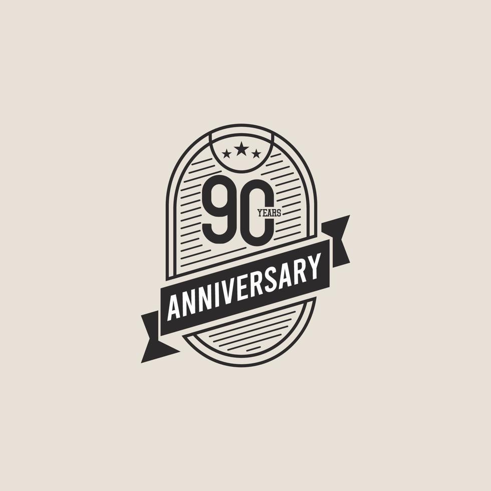 Ilustração de design de modelo vetorial celebração de aniversário de 90 anos vetor
