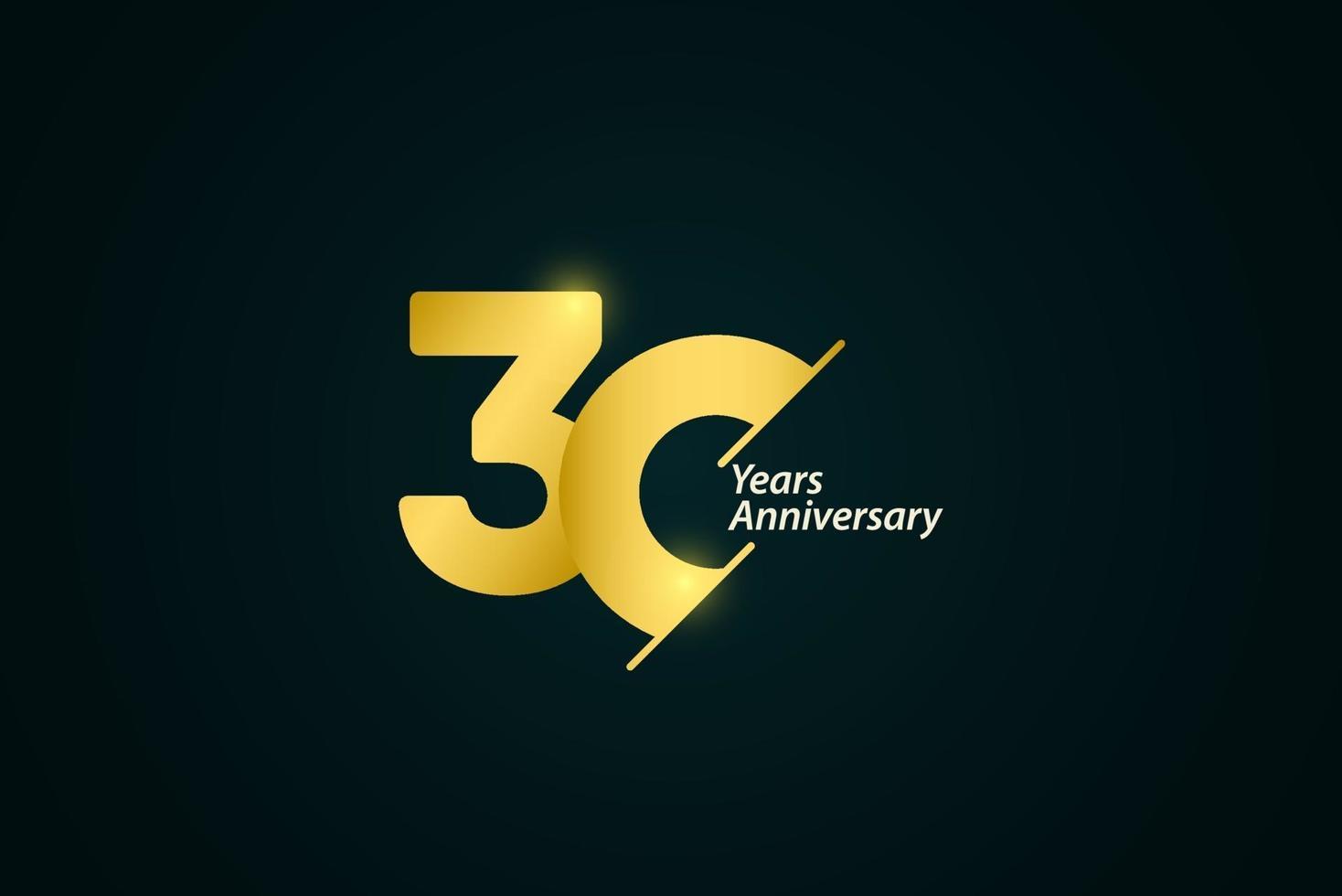 30 anos de comemoração de aniversário de ouro logotipo vetor modelo design ilustração