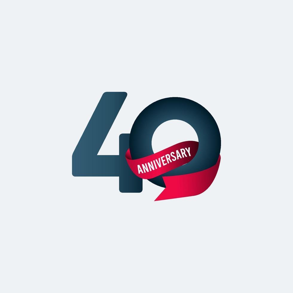 40 anos de comemoração de aniversário de fita gradiente ilustração vetorial de modelo vetor
