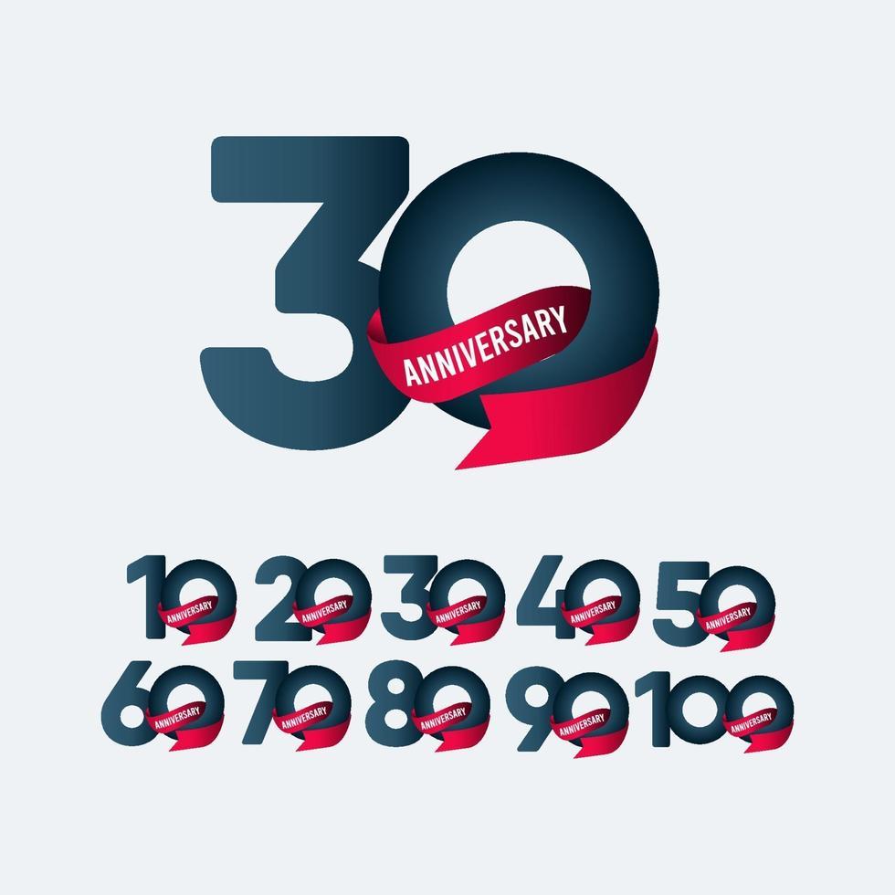 30 anos de comemoração de aniversário de fita gradiente ilustração de design de modelo de vetor