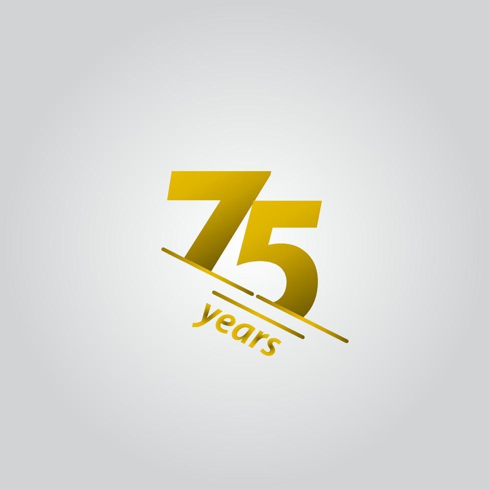75 anos de comemoração de aniversário de ouro linha ilustração de design de modelo vetorial vetor