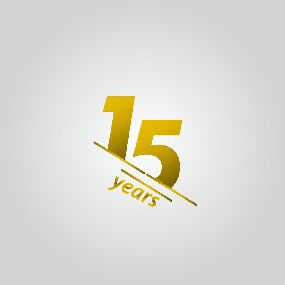15 anos comemoração de aniversário ilustração de design de modelo vetorial linha de ouro vetor