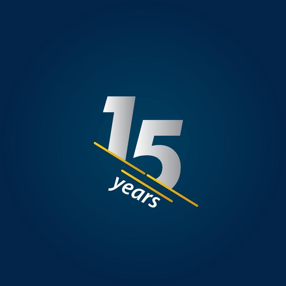 Ilustração de design de modelo de vetor azul e branco de comemoração de aniversário de 15 anos