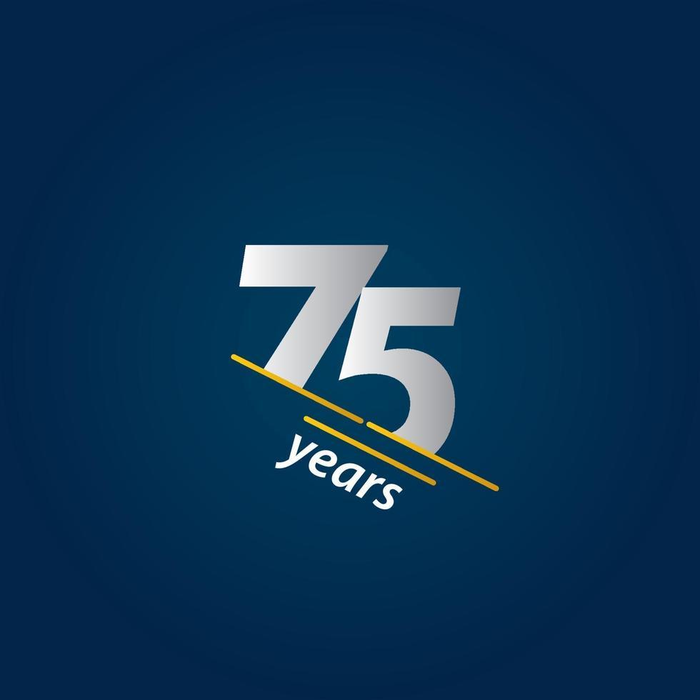 Ilustração em vetor azul e branco de celebração de aniversário de 75 anos