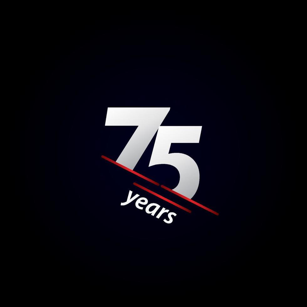 Ilustração em preto e branco da celebração do aniversário de 75 anos vetor