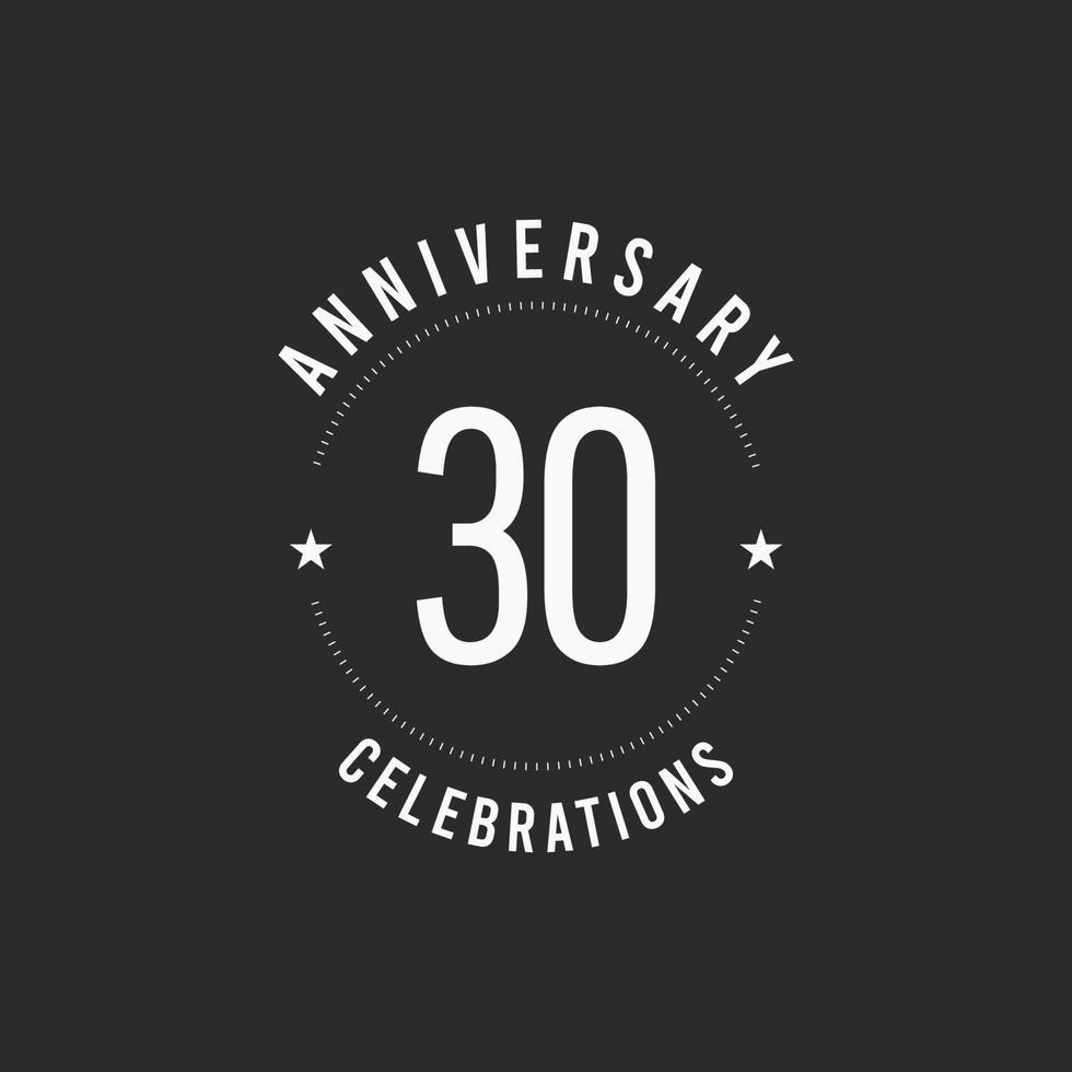 30 anos de comemoração de aniversário de vetor logotipo ícone modelo de design ilustração