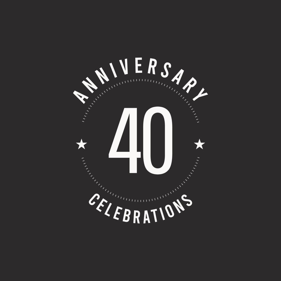 40 anos de comemoração de aniversário de vetor logotipo ícone modelo de design ilustração