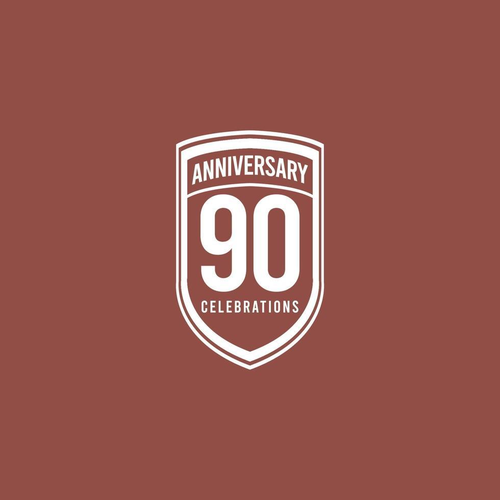 Celebração de aniversário de 90 anos retrô clássico ilustração de design de modelo de vetor