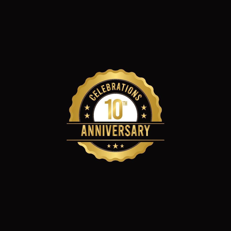 Ilustração do design do modelo do vetor de ouro das celebrações do 10º aniversário
