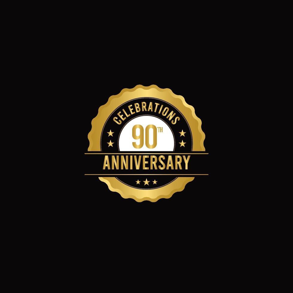 Ilustração do projeto do modelo do vetor ouro das celebrações do 90º aniversário