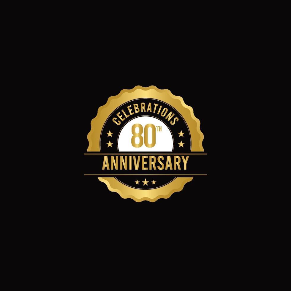 Ilustração do projeto do modelo do vetor de ouro celebrações do 80º aniversário
