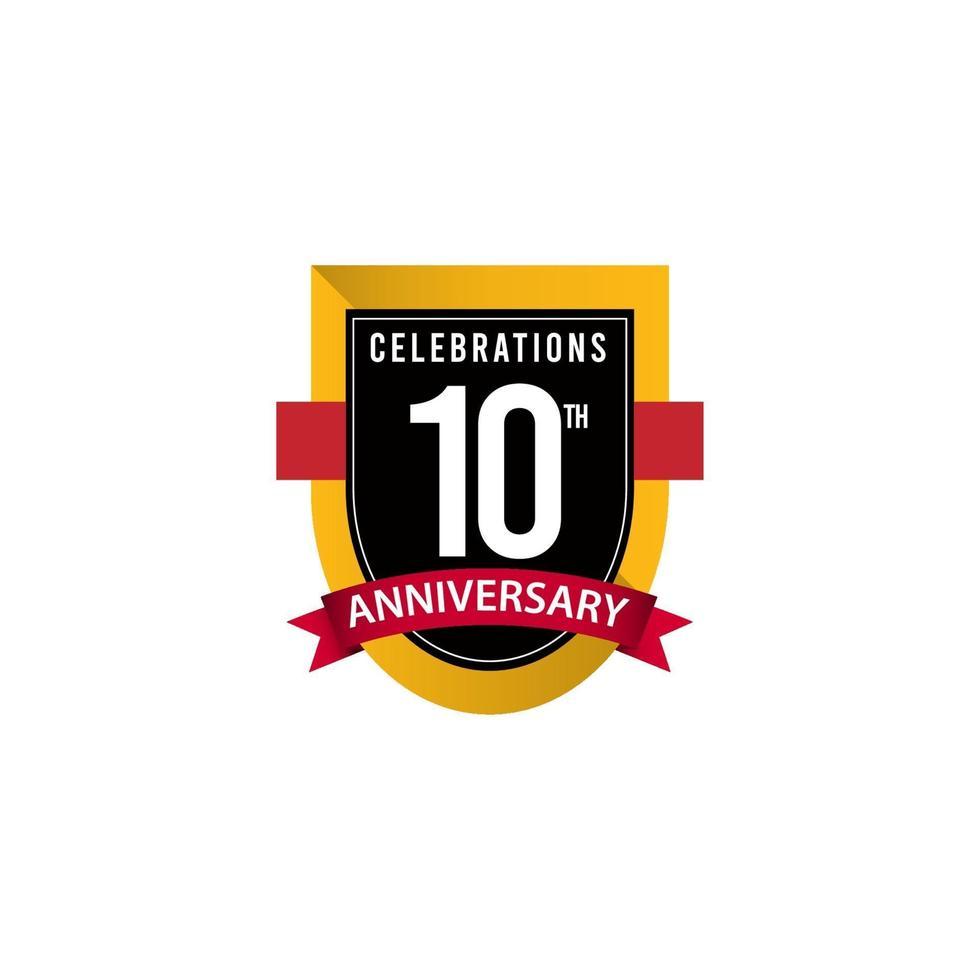 Ilustração do design do modelo de vetor ouro preto e branco comemorações do 10º aniversário