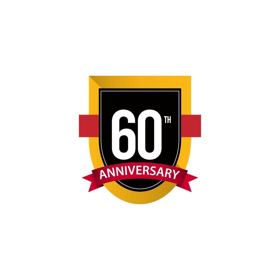 60º aniversário comemorações ouro preto branco modelo de ilustração de design de vetor