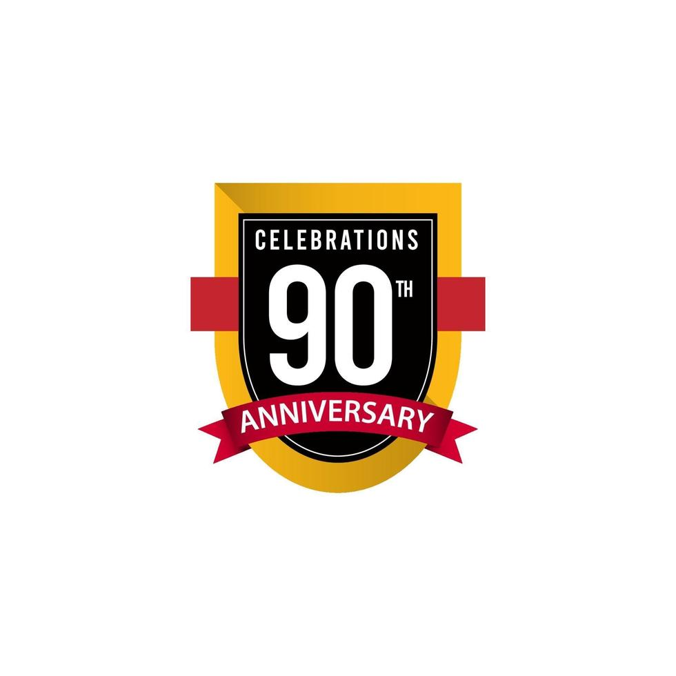 Celebrações do 90º aniversário ouro preto branco modelo de ilustração de design de vetor