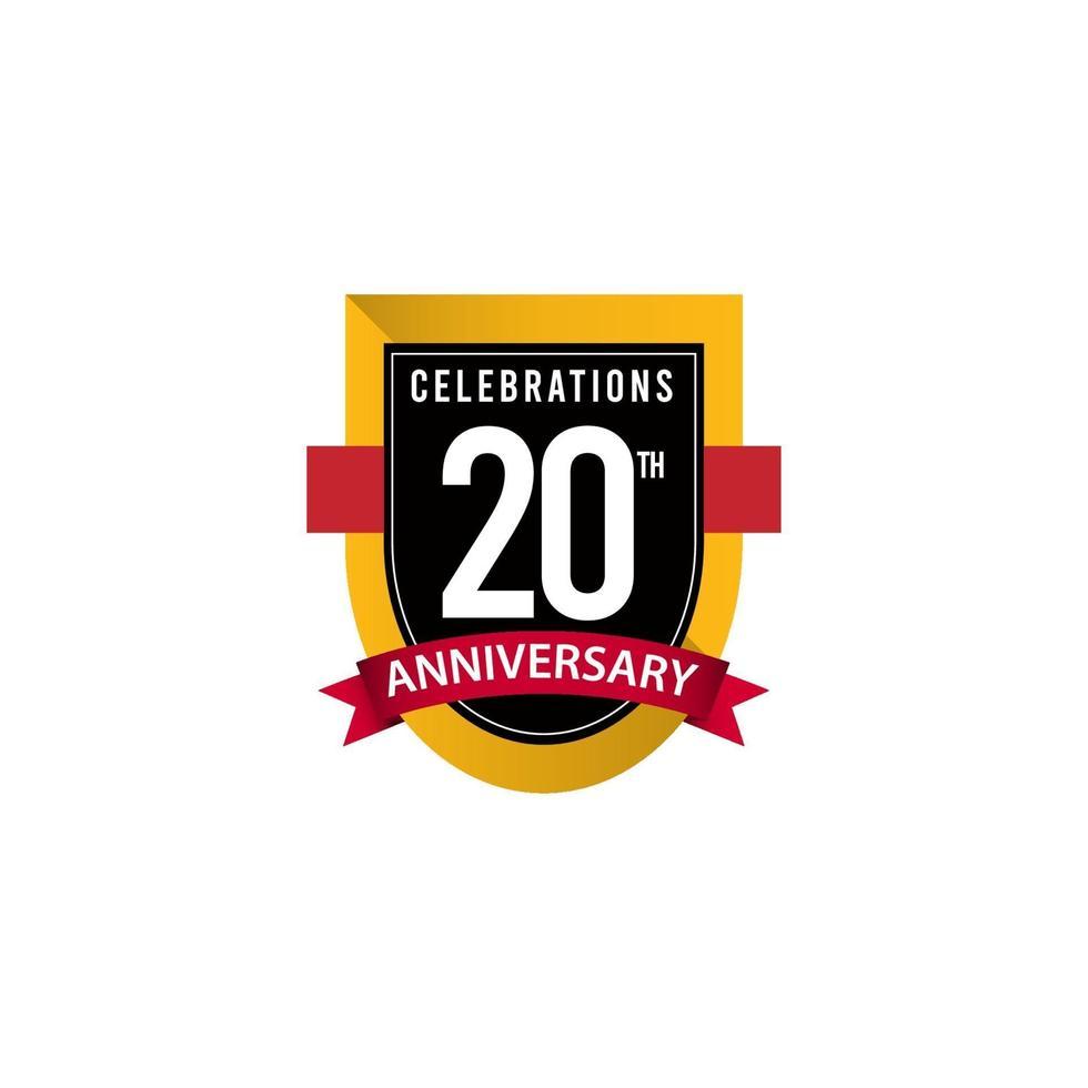 Celebrações do 20º aniversário ouro preto branco modelo de ilustração de design de vetor